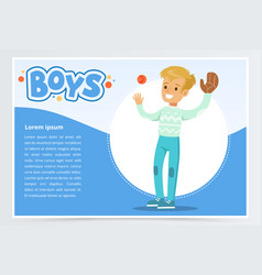 Boy palying baseball with glove and ball boys vector