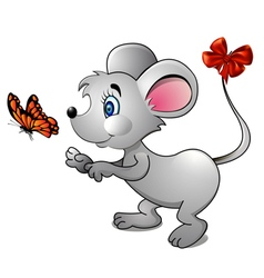 Cartoon mouse and bright butterfly vector