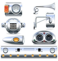 Chromed truck parts set 3 vector