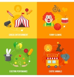 Circus retro icons composition vector image