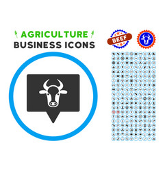 Cow banner rounded icon with set vector