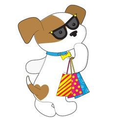 Cute puppy shopping vector