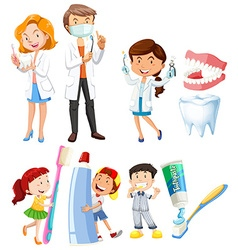 Dentist and children brushing teeth vector