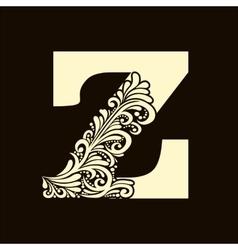 Elegant capital letter z in the style baroque vector