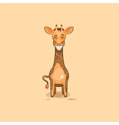 Emoji character cartoon Giraffe with a huge smile vector image vector image