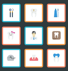 Flat icons children dentist decay toothbrush and vector