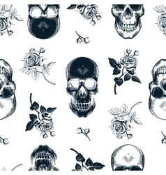 Grunge seamless pattern with monochrome human vector image vector image