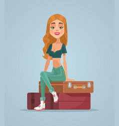 happy smiling traveler woman character vector image vector image
