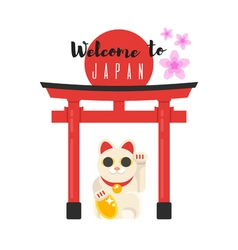 Japanese traditional gate with Lucky Cat vector image