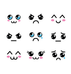 kawaii faces eyes icon vector image vector image