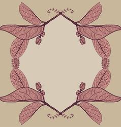 Leaves contours floral border sketch frames vector