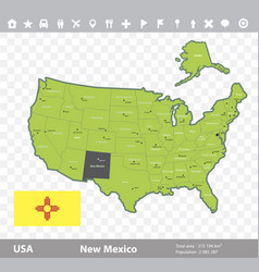 New mexico flag and map vector