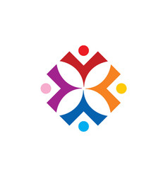 People diversity square colorful logo vector