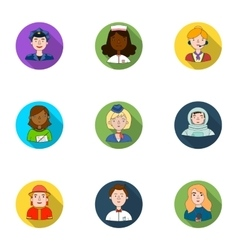 People of different profession set icons in flat vector