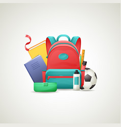 schoolbag with school supplies set vector image vector image