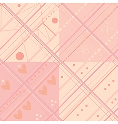 Seamless plaid pink pattern set vector image
