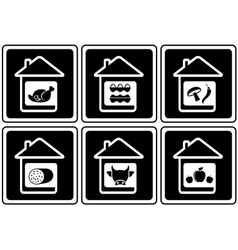 Set food icons on home vector