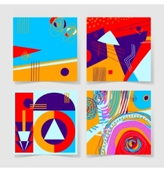 set of 4 posters with abstract trendy pattern vector image