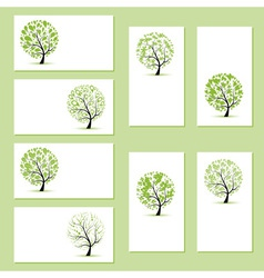 Set of business cards floral trees for your design vector