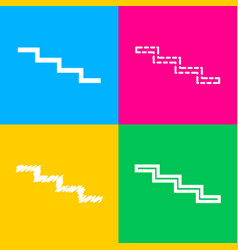 Stair down sign four styles of icon on four color vector