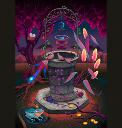 the wishing well in a magic garden vector image vector image