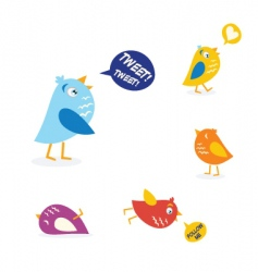 Twitter birds set vector
