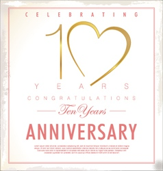 10 years Anniversary background vector image vector image