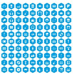 100 karaoke icons set blue vector