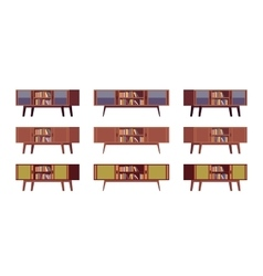 Set of retro credenzas with bookshelves vector