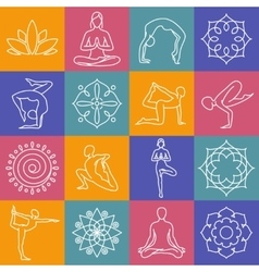 Yoga body poses symbols for pilates studio vector