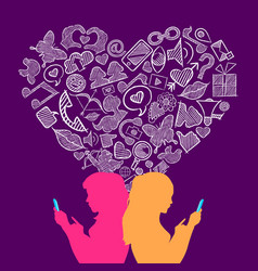 Social media lesbian love internet icons concept vector
