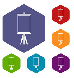 Easel icons set hexagon vector