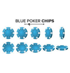 Blue poker chips 3d realistic round poker vector