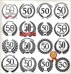 50 years anniversary laurel wreaths vector
