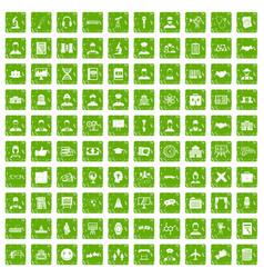 100 intelligent icons set grunge green vector