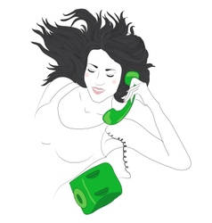 Cute young woman happy on the phone vector