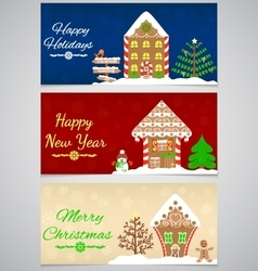 3 New Year Christmas banners vector image