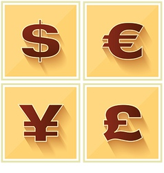 World currency symbols flat icon retro vector