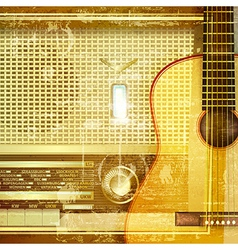 Abstract sound grunge background with retro radio vector