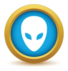 Gold extraterrestrial icon vector