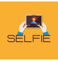 Taking selfie photo on smart phone or tablet vector