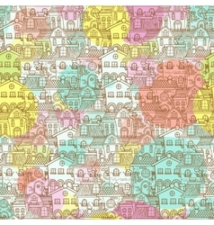 Cute seamless pattern of doodle houses vector