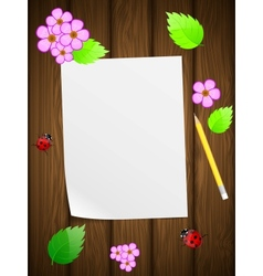 Floral wooden background vector image