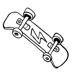 simple black and white skateboard vector image