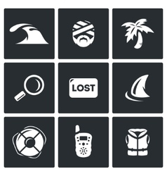 Set of emergency service icons tsunami vector