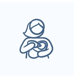 Woman nursing baby sketch icon vector