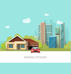 Big hight skyscrapers city suburban landscape vector