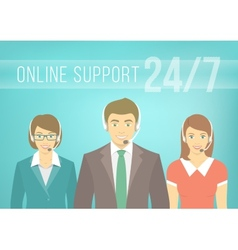 Call Centre Support Team with Headphones vector image