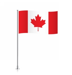 Canadian flag waving on a metallic pole vector