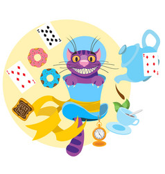 Cheshire cat in a hat and a variety of treats for vector